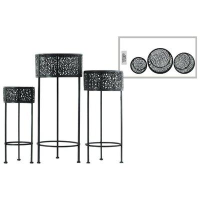 Dowen Pierced Round Metal 3 Piece Plant Stand Set Color: Black