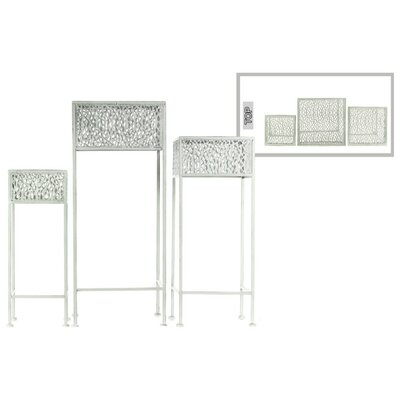 Douthitt Pierced Body Square Shaped Metal 3 Piece Plant Stand Set Color: White