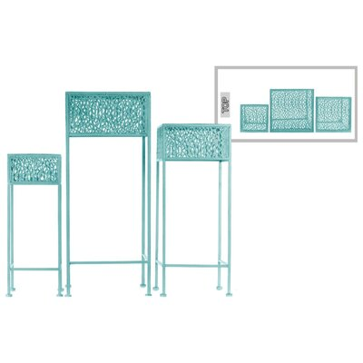 Douthitt Pierced Body Square Shaped Metal 3 Piece Plant Stand Set Color: Blue