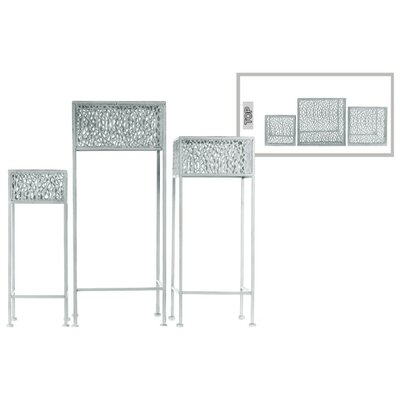 Douthitt Pierced Body Square Shaped Metal 3 Piece Plant Stand Set Color: Gray