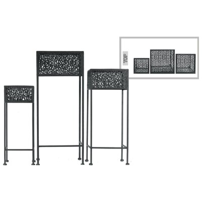 Douthitt Pierced Body Square Shaped Metal 3 Piece Plant Stand Set Color: Black