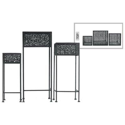 Douthitt Pierced Body Square Shaped Metal 3 Piece Plant Stand Set Color: Black