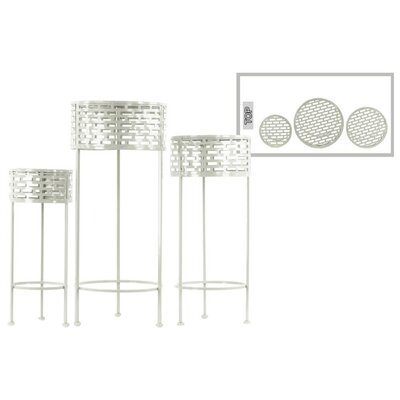Dowgry Round Shaped Metal 3 Piece Plant Stand Set Color: White