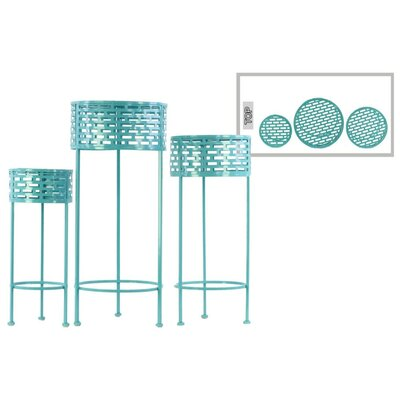 Dowgry Round Shaped Metal 3 Piece Plant Stand Set Color: Blue