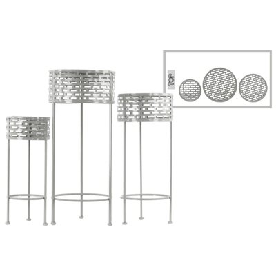 Dowgry Round Shaped Metal 3 Piece Plant Stand Set Color: Gray