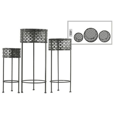 Dowgry Round Shaped Metal 3 Piece Plant Stand Set Color: Black