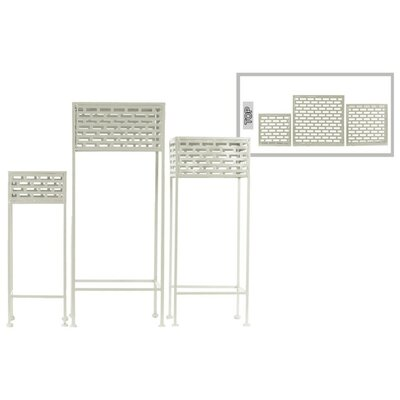 Dovenby Cutout Patterned Metal 3 Piece Plant Stand Set Color: White