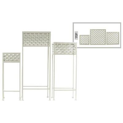 Dovenby Cutout Patterned Metal 3 Piece Plant Stand Set Color: White
