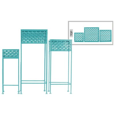 Dovenby Cutout Patterned Metal 3 Piece Plant Stand Set Color: Blue