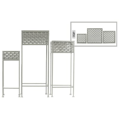 Dovenby Cutout Patterned Metal 3 Piece Plant Stand Set Color: Gray