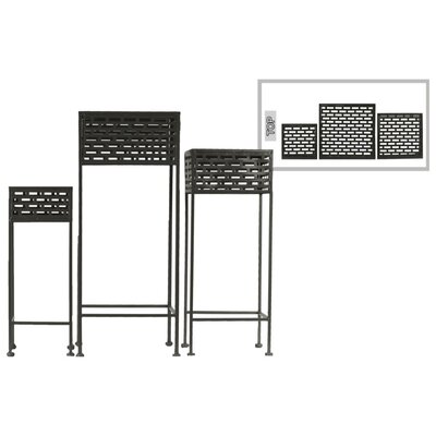 Dovenby Cutout Patterned Metal 3 Piece Plant Stand Set Color: Black