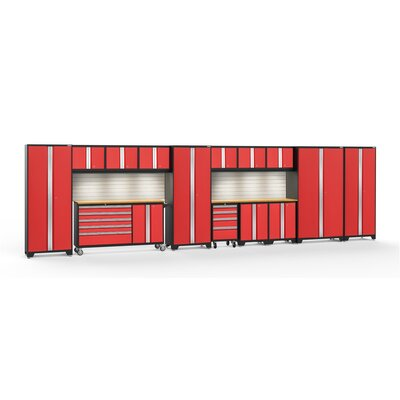 Bold 3.0 15 Piece Complete Storage System Worktop Material: Bamboo, Lighting: LED Light, Finish: Red