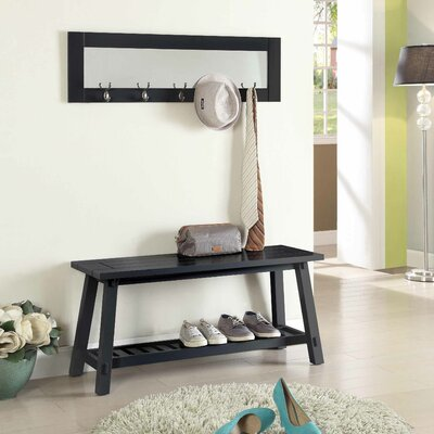 Wooden Bench and Mirror Color: Black