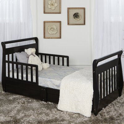Toddler Sleigh Bed with Storage Color: Black