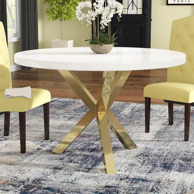 Elmore Dining Table Base Color: Gold, Top Color: White
