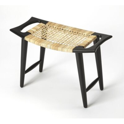 Arago Modern Rattan Accent Stool Color: Black