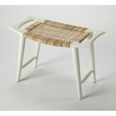 Arago Modern Rattan Accent Stool Color: White