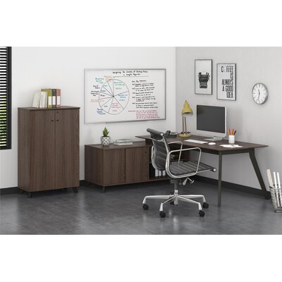 Barbosa Executive 2 Piece L-Shape Desk Office Suite Finish: Medium Brown