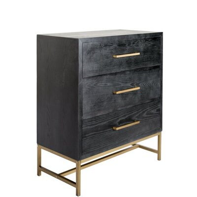 Dowdey Wood and Metal Rectangular 3 Drawer Accent Chest