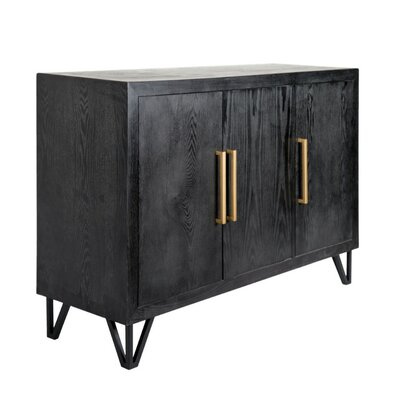 Dowland Wood and Metal Rectangular 3 Door Accent Cabinet