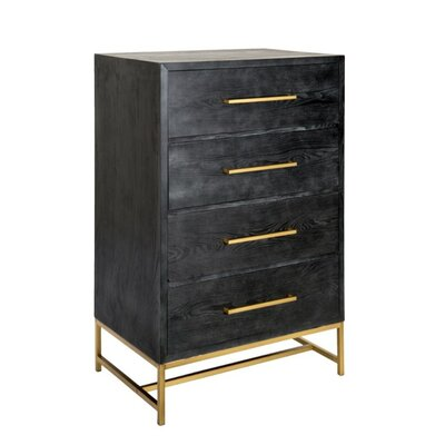 Dowding Wood and Metal Rectangular 4 Drawer Accent Chest