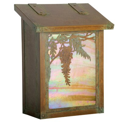 Wisteria Wall Mounted Mailbox Finish: Old Brass, Glass Color: Gold Iridescent