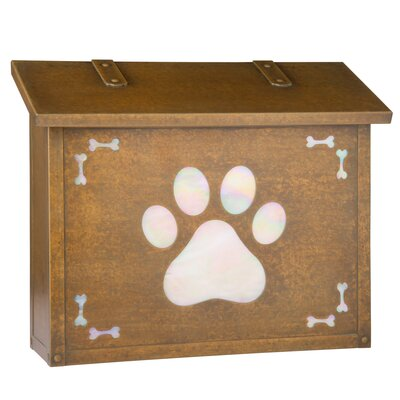 Dog Paw Wall Mounted Mailbox Post Color: Gold Iridescent, Mailbox Color: Warm Brass