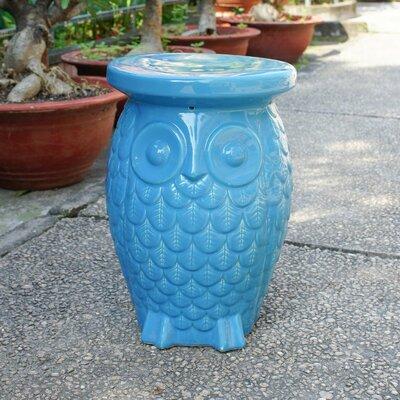 Makhzane Owl Ceramic Garden Stool Finish: Aqua Glaze