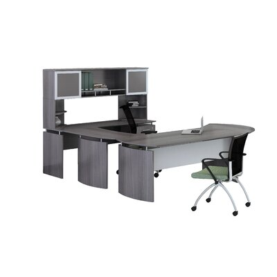 "Medina Series 3-Piece U-Shape Desk Office Suite Color: Gray Steel, Size: 65.75"" H x 87"" W x 108"" D, Orientation: Right"