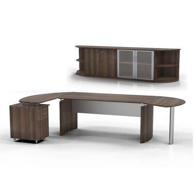 Medina 7-Piece Standard Desk Office Suite Color: Textured Brown Sugar, Orientation: Right