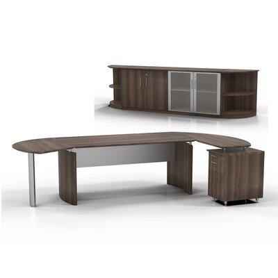 Medina 7-Piece Standard Desk Office Suite Orientation: Left, Color: Textured Brown Sugar