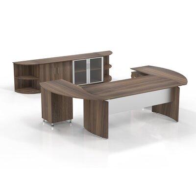 Medina 7-Piece U-Shape Desk Office Suite Color: Textured Brown Sugar