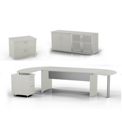 Medina Computer Desk with Pedestal, Low Wall Cabinet and Lateral File Color: Textured Brown Sugar