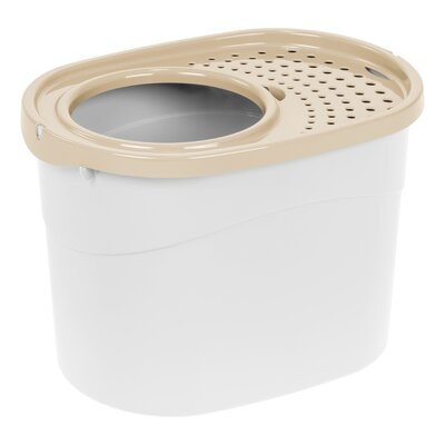 Roo Top Entry Litter Box Color: White/Beige