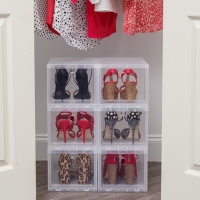 High 4 Pair Stackable Shoe Storage Box