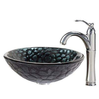 Kraus Kratos Glass Vessel Sink with Riviera Faucet