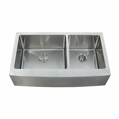 "35.88"" L x 20.75"" W Double Basin Farmhouse Kitchen Sink with Faucet and Soap Dispenser Faucet Finish: Stainless Steel"