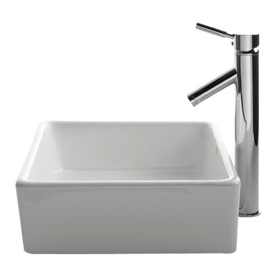 Ceramic Ceramic Square Vessel Bathroom Sink with Faucet Faucet Finish: Satin Nickel