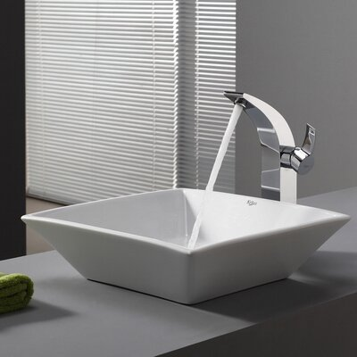 Ceramic Square Vessel Bathroom Sink Drain Finish: No Drain