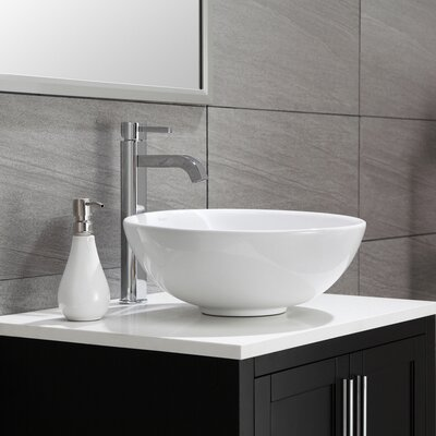 Ceramic Ceramic Circular Vessel Bathroom Sink Drain Finish: Chrome