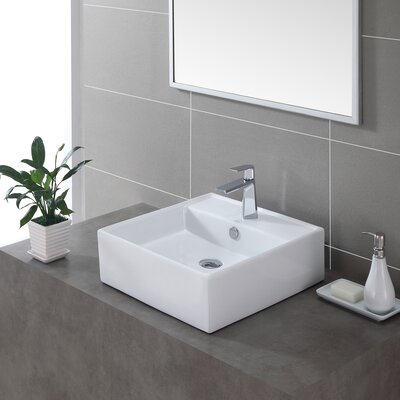 Ceramic Ceramic Square Vessel Bathroom Sink with Overflow Drain Finish: Chrome