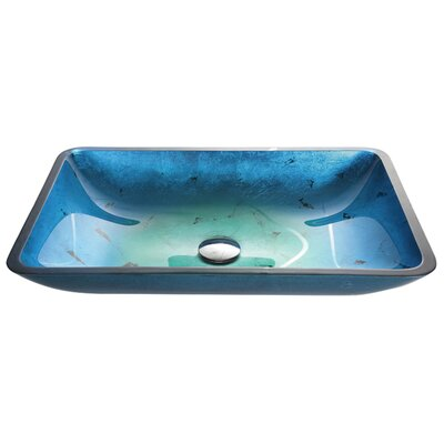Galaxy Glass Rectangular Vessel Bathroom Sink Color: Fire-Blue, Drain Finish: Chrome