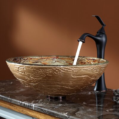 Ares Glass Circular Vessel Bathroom Sink with Faucet