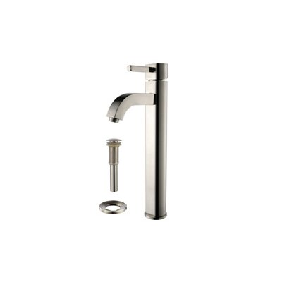 Square Glass Square Vessel Bathroom Sink with Faucet Faucet Finish: Satin Nickel