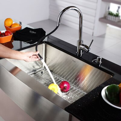 """Kraus 29.75"""" x 20"""" Farmhouse Kitchen Sink with Faucet and Soap Dispenser"""