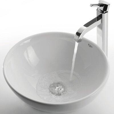 Ceramic Ceramic Circular Vessel Bathroom Sink with Faucet Faucet Finish: Chrome