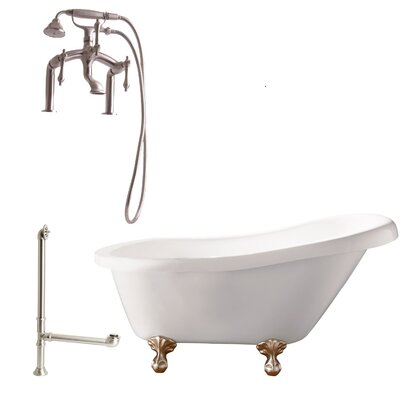 Hawthorne Soaking Bathtub Metal Finish: Satin Nickel, Finish: White