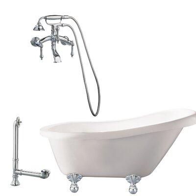 Newton Soaking Bathtub Metal Finish: Polished Chrome, Finish: White