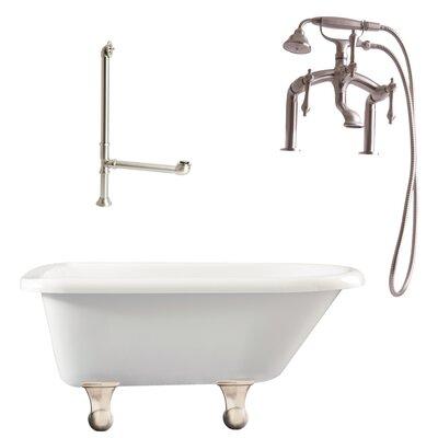 Brighton Roll Top Soaking Bathtub Metal Finish: Satin Nickel, Finish: White
