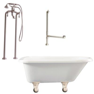 Brighton Top Soaking Bathtub Metal Finish: Satin Nickel, Finish: White